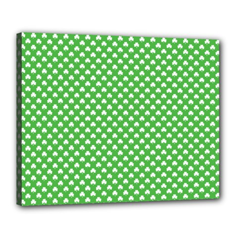 White Heart Shaped Clover On Green St  Patrick s Day Canvas 20  X 16  by PodArtist