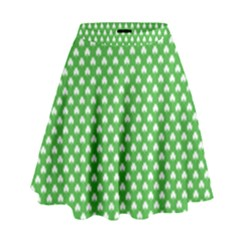 White Heart Shaped Clover On Green St  Patrick s Day High Waist Skirt by PodArtist