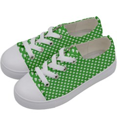 White Heart Shaped Clover On Green St  Patrick s Day Kids  Low Top Canvas Sneakers by PodArtist