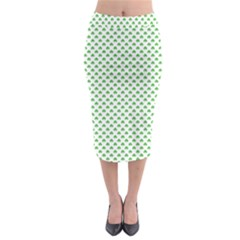 Green Heart Shaped Clover On White St  Patrick s Day Midi Pencil Skirt by PodArtist