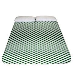 Shamrock 2 Tone Green On White St Patrick's Day Clover Fitted Sheet (king Size) by PodArtist
