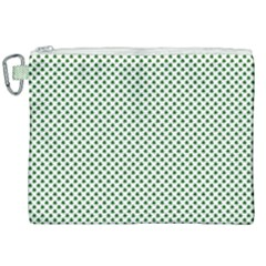 Shamrock 2 Tone Green On White St Patrick's Day Clover Canvas Cosmetic Bag (xxl)