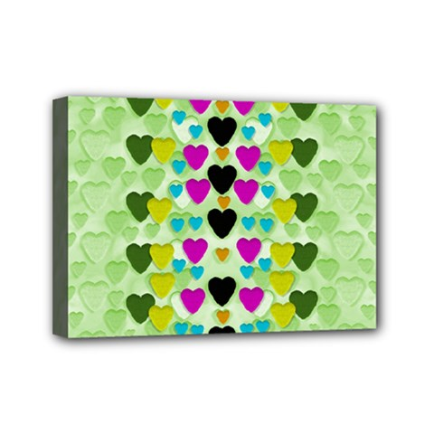 Summer Time In Lovely Hearts Mini Canvas 7  X 5  by pepitasart