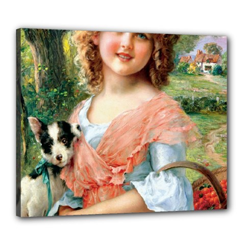 Girl With Dog Canvas 24  X 20  by vintage2030