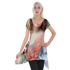 Girl With Dog Short Sleeve Side Drop Tunic