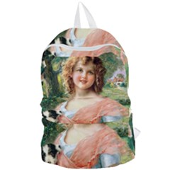 Girl With Dog Foldable Lightweight Backpack by vintage2030