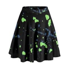 Dark Splatter Abstract High Waist Skirt by dflcprints