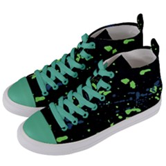 Dark Splatter Abstract Women s Mid Top Canvas Sneakers by dflcprints