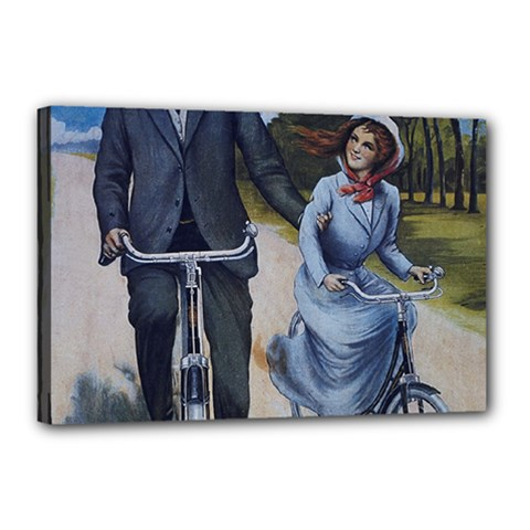 Couple On Bicycle Canvas 18  X 12  by vintage2030