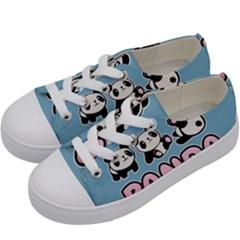 Panda  Kids  Low Top Canvas Sneakers by Valentinaart