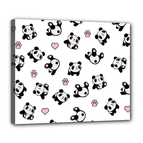 Panda Pattern Deluxe Canvas 24  X 20   by Valentinaart