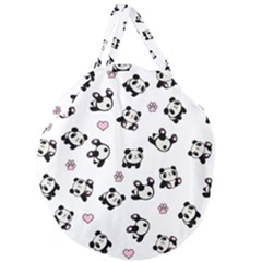 Panda Pattern Giant Round Zipper Tote by Valentinaart