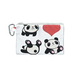 Panda Canvas Cosmetic Bag (small) by Valentinaart