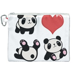 Panda Canvas Cosmetic Bag (xxl) by Valentinaart