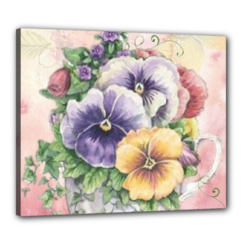 Lowers Pansy Canvas 24  X 20  by vintage2030