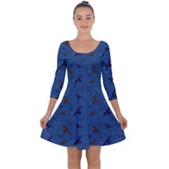 Falcons And Stars Quarter Sleeve Skater Dress