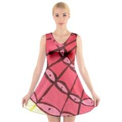 Red Fan V Neck Sleeveless Skater Dress by snowwhitegirl