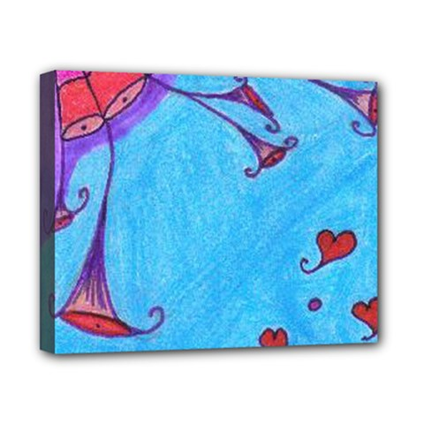 Hearts And Blue Canvas 10  X 8  by snowwhitegirl