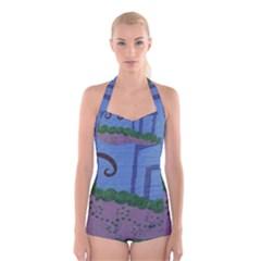 Purple Shoe Boyleg Halter Swimsuit