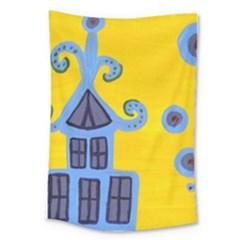 Blue House Large Tapestry by snowwhitegirl