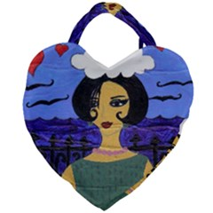 Girl By The Sea Giant Heart Shaped Tote by snowwhitegirl