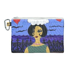 Girl By The Sea Canvas Cosmetic Bag (large) by snowwhitegirl
