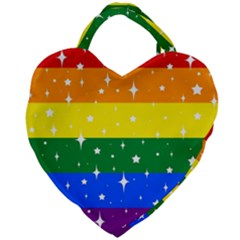 Sparkly Rainbow Flag Giant Heart Shaped Tote