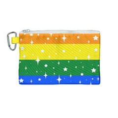 Sparkly Rainbow Flag Canvas Cosmetic Bag (medium) by Valentinaart