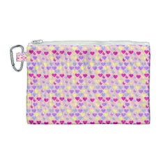 Hearts Butterflies Pink  Canvas Cosmetic Bag (large)
