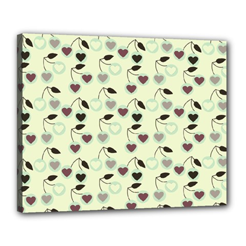 Heart Cherries Mint Canvas 20  X 16  by snowwhitegirl