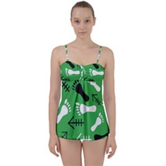 Green Babydoll Tankini Set by HASHHAB