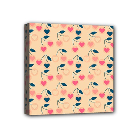 Heart Cherries Cream Mini Canvas 4  X 4  by snowwhitegirl