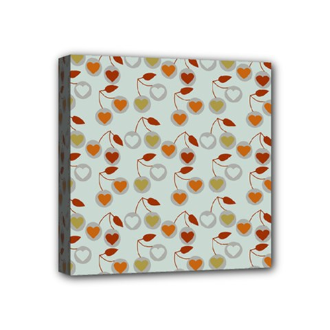 Heart Cherries Grey Mini Canvas 4  X 4  by snowwhitegirl