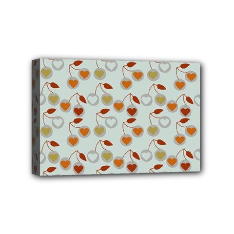 Heart Cherries Grey Mini Canvas 6  X 4  by snowwhitegirl