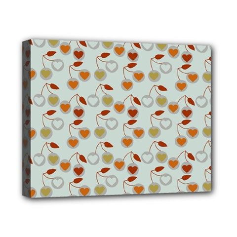 Heart Cherries Grey Canvas 10  X 8  by snowwhitegirl