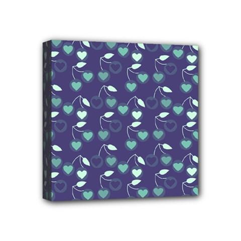 Heart Cherries Blue Mini Canvas 4  X 4  by snowwhitegirl