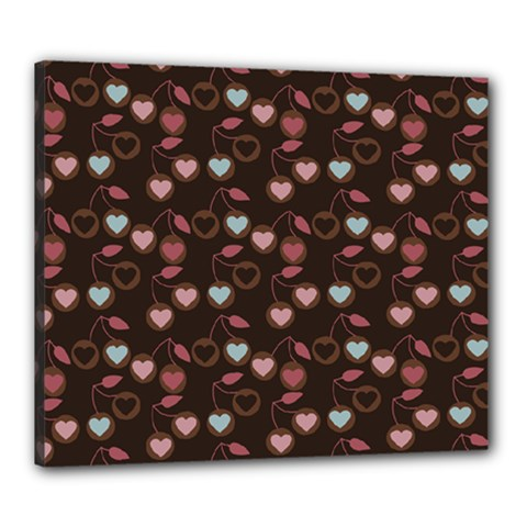 Heart Cherries Brown Canvas 24  X 20  by snowwhitegirl