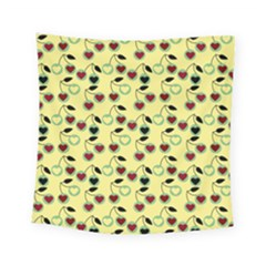 Yellow Heart Cherries Square Tapestry (small) by snowwhitegirl