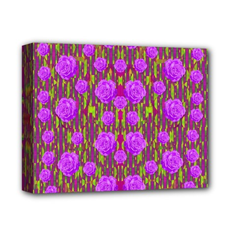 Roses Dancing On A Tulip Field Of Festive Colors Deluxe Canvas 14  X 11  by pepitasart