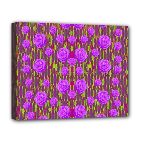 Roses Dancing On A Tulip Field Of Festive Colors Deluxe Canvas 20  X 16   by pepitasart