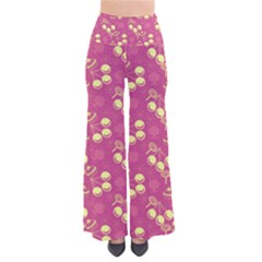 Yellow Pink Cherries Pants by snowwhitegirl