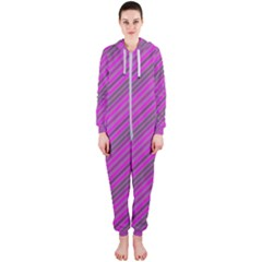 Pink Violet Diagonal Lines Hooded Jumpsuit (ladies)