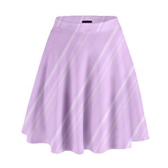 Lilac Diagonal Lines High Waist Skirt by snowwhitegirl