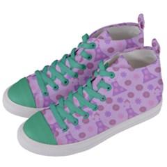 Violet Pink Flower Dress Women s Mid Top Canvas Sneakers by snowwhitegirl