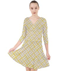 Woven2 White Marble & Yellow Watercolor Quarter Sleeve Front Wrap Dress