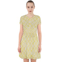 Woven2 White Marble & Yellow Watercolor Adorable In Chiffon Dress