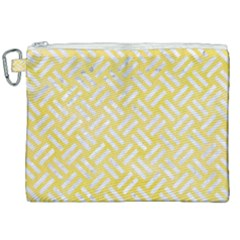 Woven2 White Marble & Yellow Watercolor Canvas Cosmetic Bag (xxl) by trendistuff