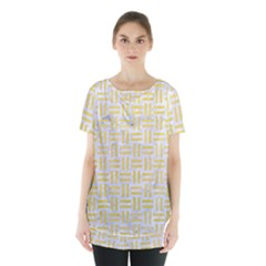 Woven1 White Marble & Yellow Watercolor (r) Skirt Hem Sports Top by trendistuff
