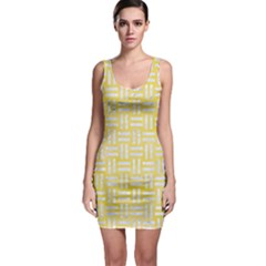 Woven1 White Marble & Yellow Watercolor Bodycon Dress