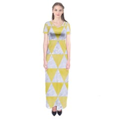Triangle3 White Marble & Yellow Watercolor Short Sleeve Maxi Dress